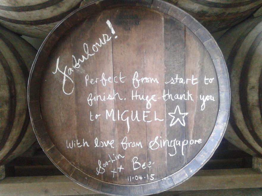 Bota de vino de Lagar Blanco firmada